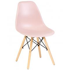 Стул обеденный Eames DSW, цвет сиденья светло-розовый, цвет основания светлый бук
