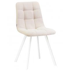 Стул обеденный ALEX SQUARE, цвет сиденья кремовая ткань (UF860-01B), цвет основания белый