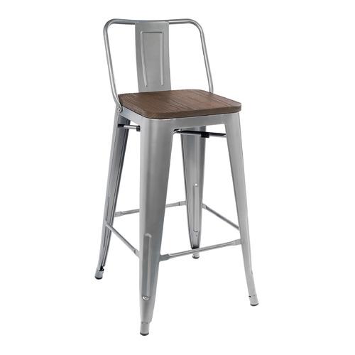 Барный стул Tolix серый сиденье деревянное