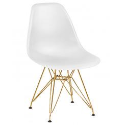 Стул обеденный DSR, цвет сиденья белый (W-02), цвет основания золото