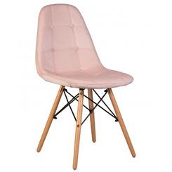 Стул Eames Soft цвет сиденья пудрово-розовый велюр (HLR-39), цвет основания светлый бук