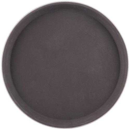 Поднос круглый; пластик; D=27.5 см; коричневый