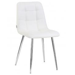 Стул обеденный ALEX, цвет сиденья белая экокожа (P-02), цвет основания хромированная сталь