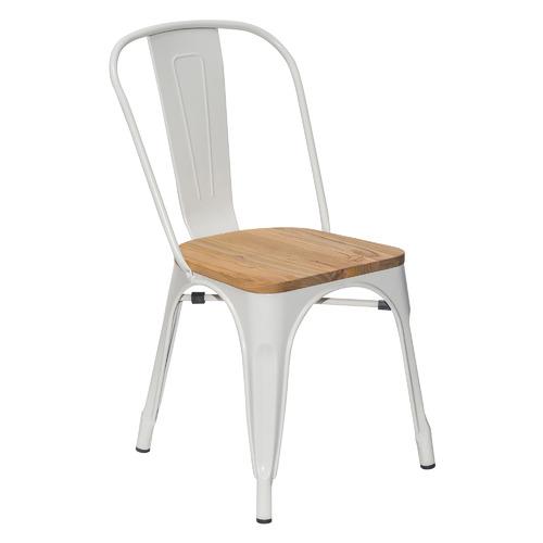 Стул Tolix белый с деревянным сиденьем