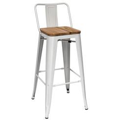 Барный стул Tolix белый сиденье дерево