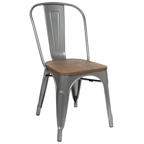 Стул Tolix серебристый с деревянным сиденьем